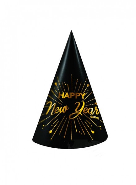 Cappellini nero e oro Happy New Year (6pz)