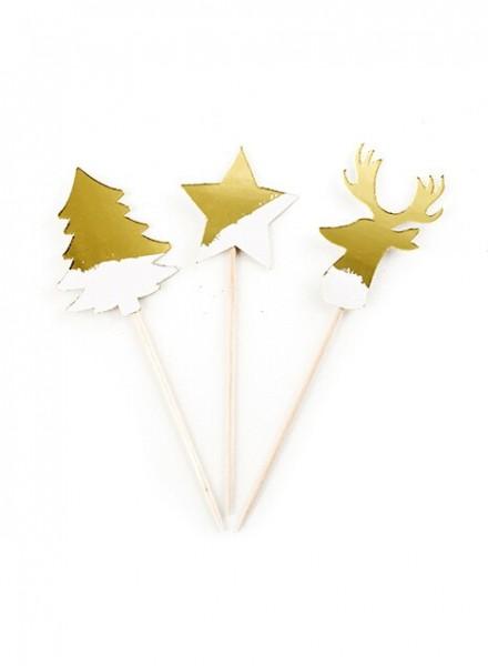 Picks sagomati stella albero renna (8pz)