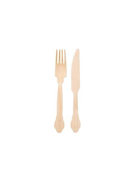 Forchette + Coltelli in legno (6pz+6pz)