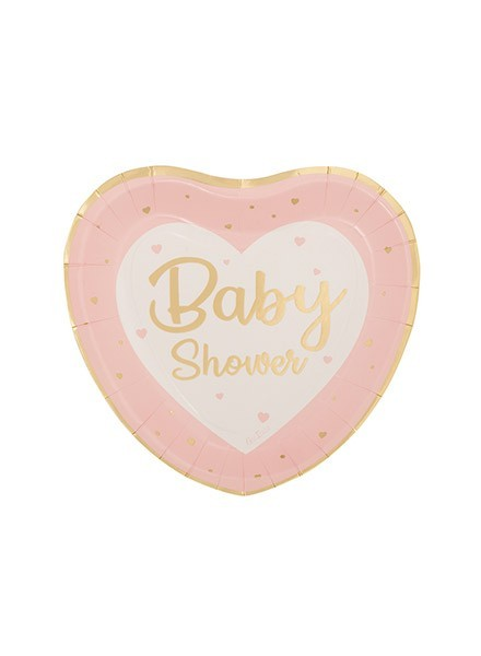 Piatto cuore Baby Shower rosa (8pz)