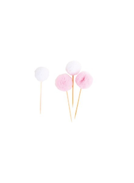 Picks tulle rosa/bianco (8pz)