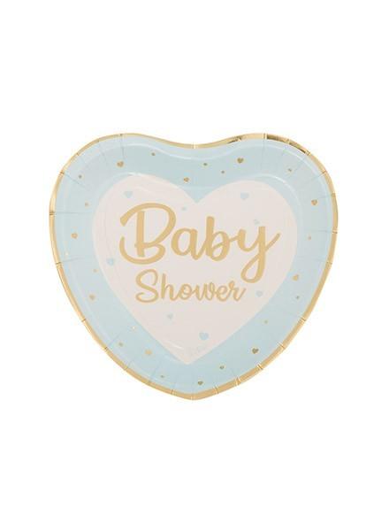 Piatto cuore Baby Shower azzurro (8pz)
