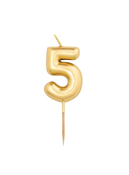 Candela cinque oro metal (1pz)