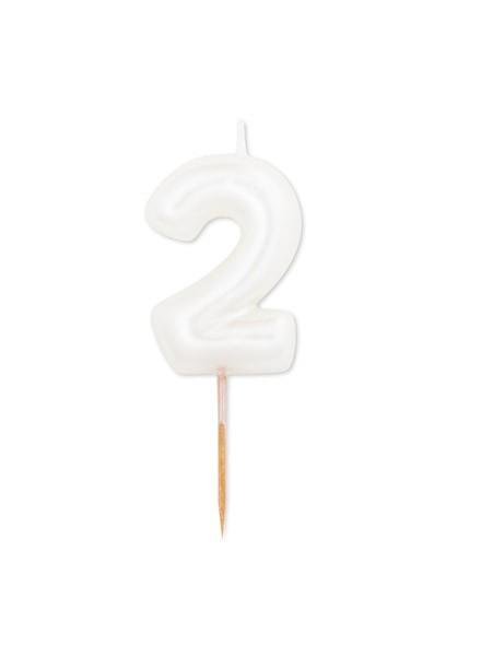 Candela due bianco perla metal (1pz)