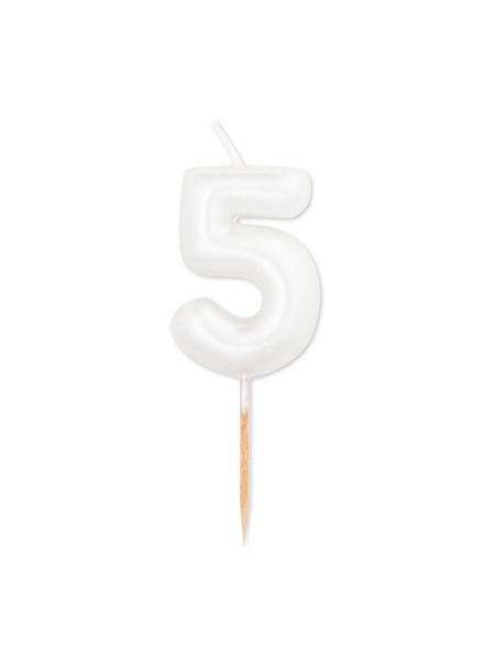 Candela cinque bianco perla metal (1pz)