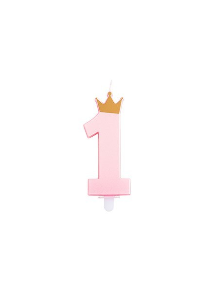Candela rosa perlato con corona oro (1pz)