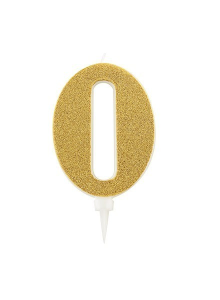 Candela zero gigante glitter oro (1pz)
