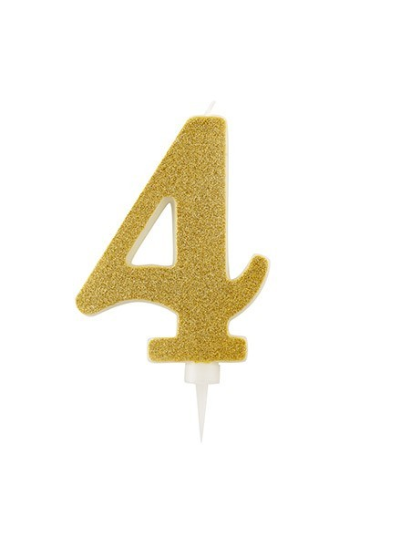 Candela quattro gigante glitter oro (1pz)