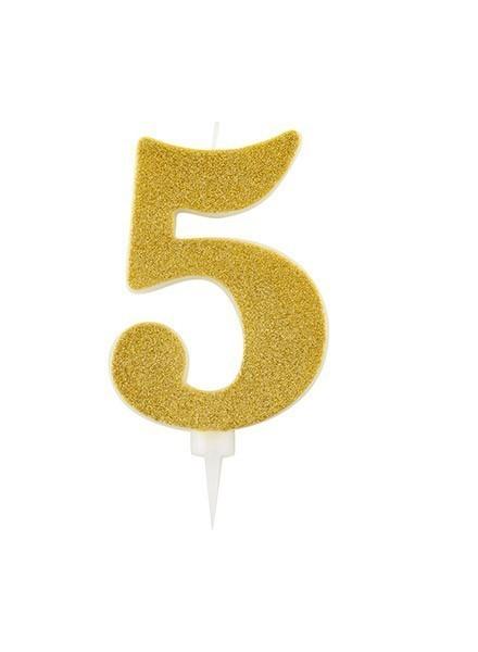 Candela cinque gigante glitter oro (1pz)