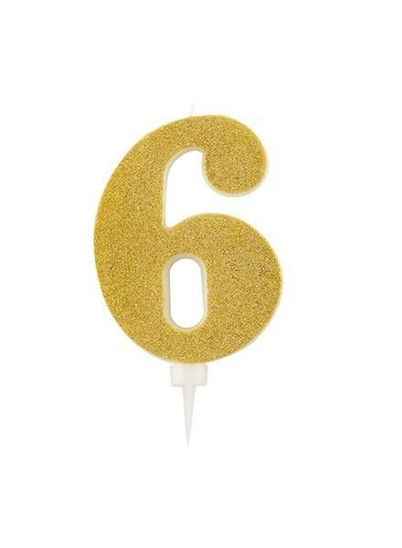 Candela sei gigante glitter oro (1pz)
