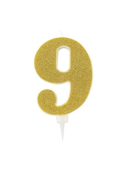 Candela nove gigante glitter oro (1pz)