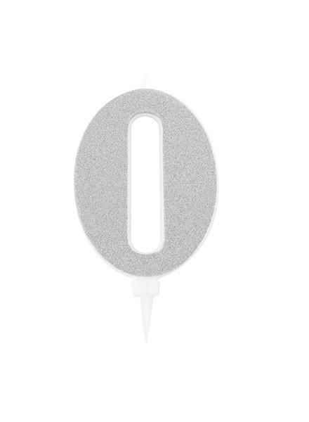 Candela zero gigante glitter argento (1pz)