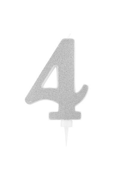 Candela quattro gigante glitter argento (1pz)