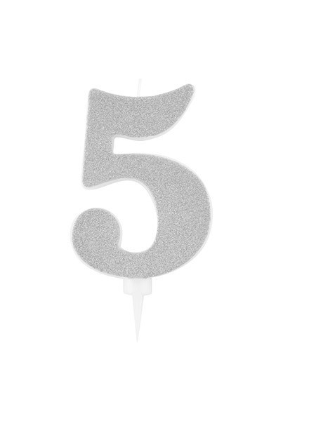 Candela cinque gigante glitter argento (1pz)
