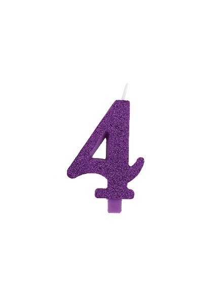 Candela quattro glitter viola (1pz)