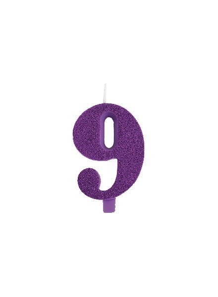 Candela nove glitter viola (1pz)