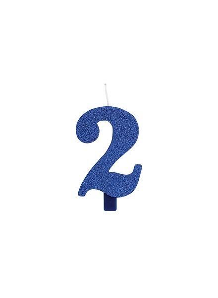 Candela due glitter blu (1pz)