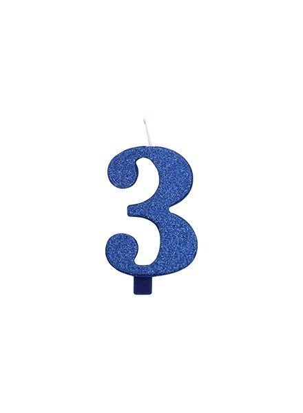 Candela tre glitter blu (1pz)