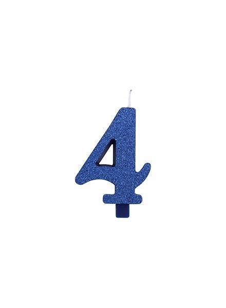 Candela quattro glitter blu (1pz)