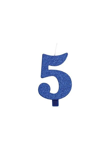 Candela cinque glitter blu (1pz)