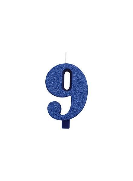 Candela nove glitter blu (1pz)