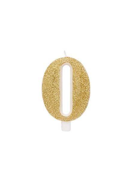 Candela zero glitter oro (1pz)