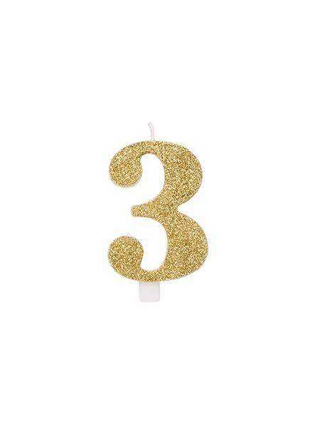 Candela tre glitter oro (1pz)