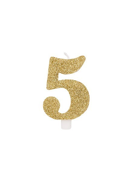 Candela cinque glitter oro (1pz)
