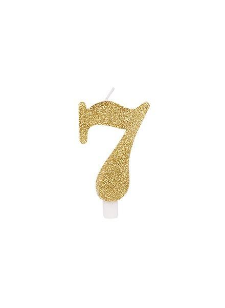 Candela sette glitter oro (1pz)