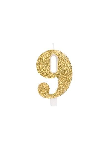 Candela nove glitter oro (1pz)