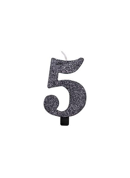 Candela cinque glitter nero (1pz)