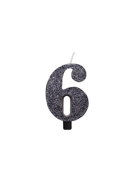 Candela sei glitter nero (1pz)