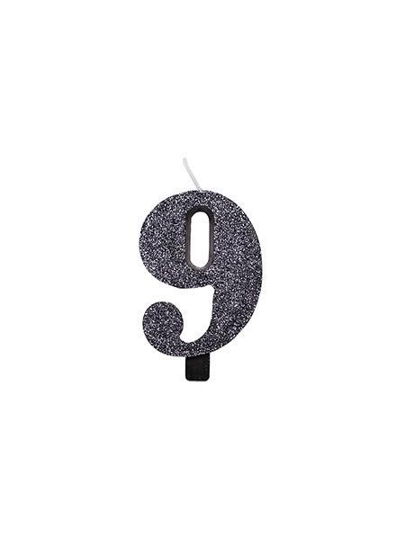 Candela nove glitter nero (1pz)