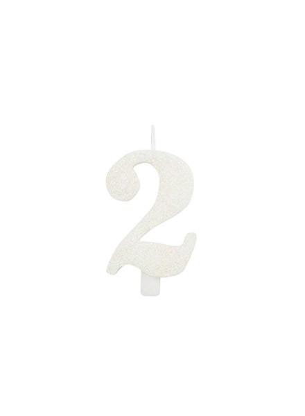 Candela due glitter bianco (1pz)