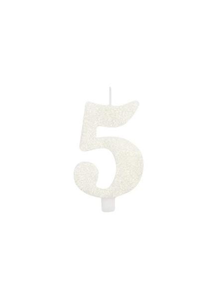 Candela cinque glitter bianco (1pz)