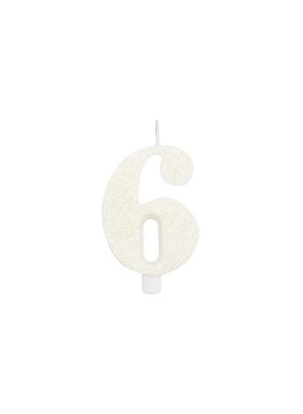 Candela sei glitter bianco (1pz)