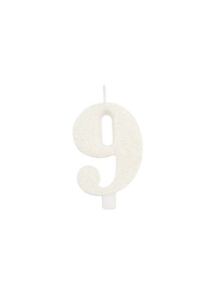 Candela nove glitter bianco (1pz)